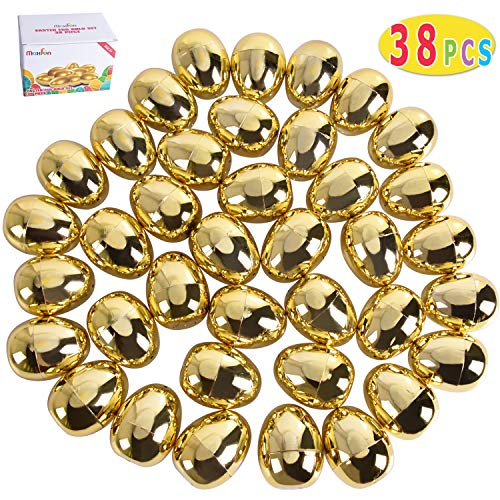 Max Fun 38 Pcs Golden Metallic Easter Eggs for Easter Theme Party Favor, Easter Hunt, Basket Stuffers Fillers, School Classroom Supply ()