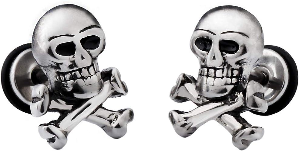 SKULL EARRINGS Mini SKELETON Head Face Stud Post Silver Stainless Steel NEW!