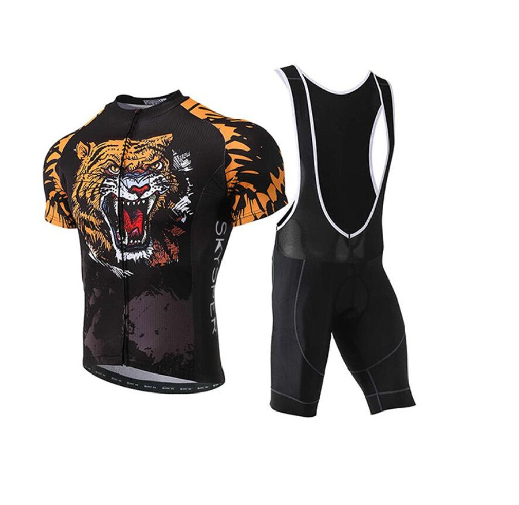 XL Cycling Jersey Set, Cycling Clothing Man Short Sleeve + Shorts Gel Bib Tights Jersey for Cycling