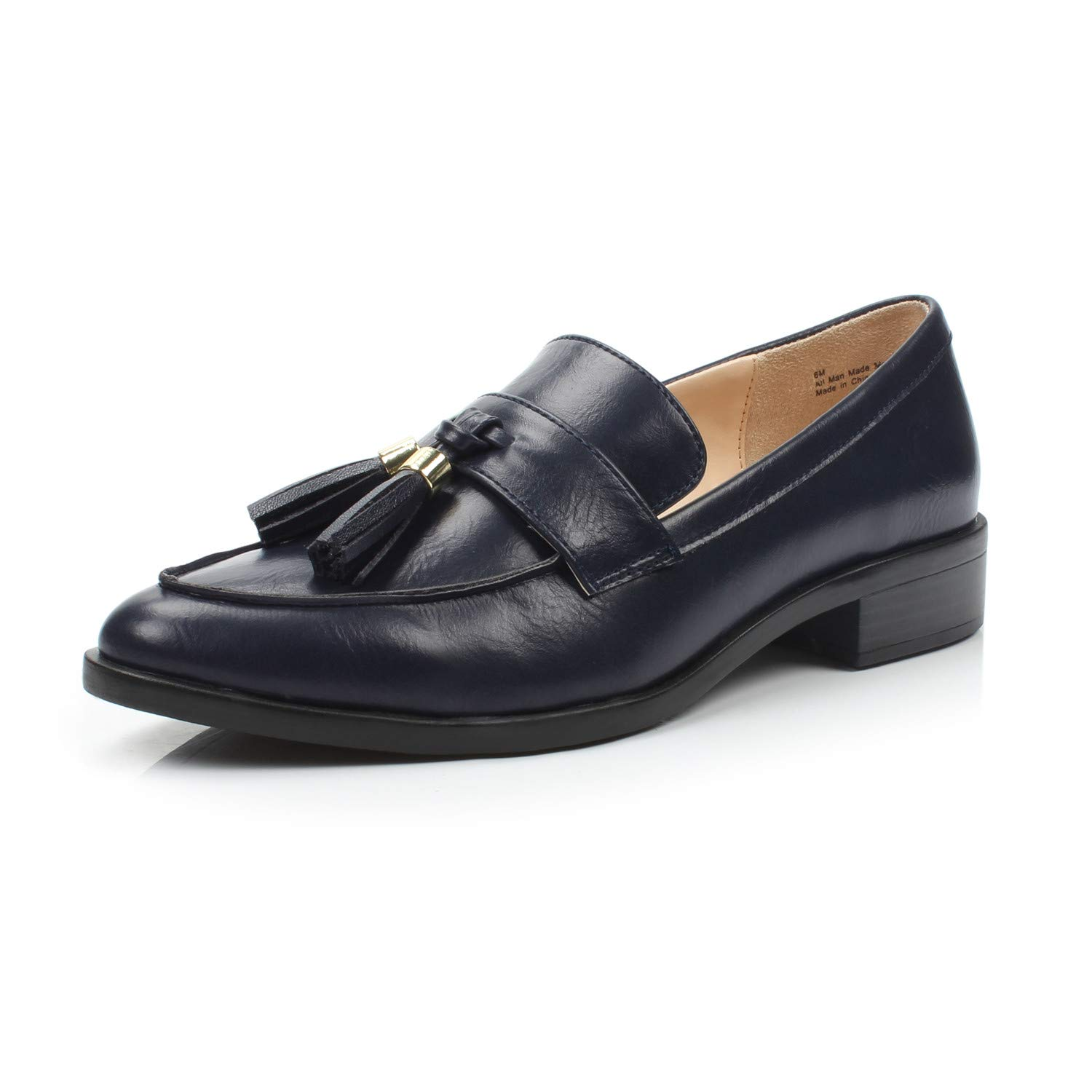 Bertha Navy DUNION Women's Brandon Chain Decorated Penny Loafers Low Heels Almond Toe Casual Daily shoes
