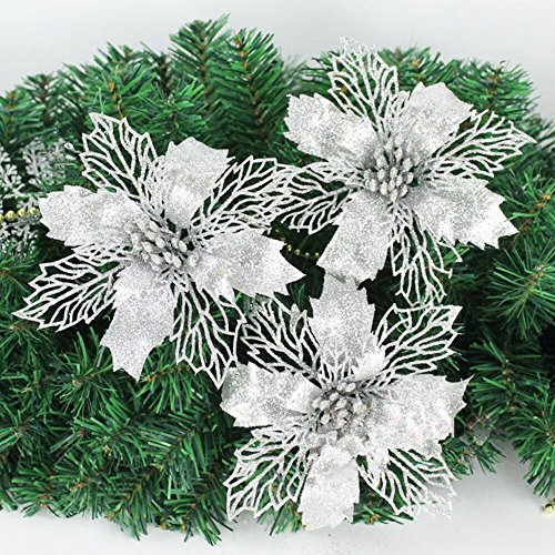 Silver Poinsettia - Crazy Night Glitter Poinsettia Christmas Tree Ornaments Pack of 10 (Silver)