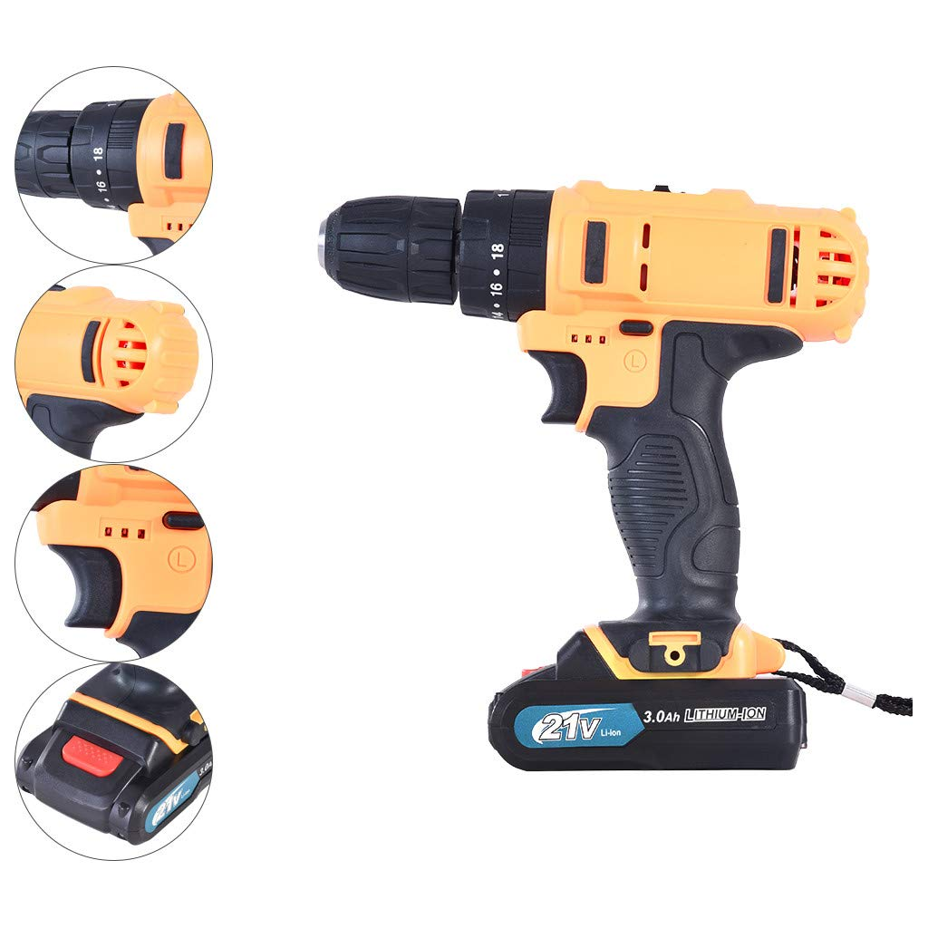 Redgiants 21-Volt drill Max 2-Speed Electric Cordless Drill,Driver with Bits Set & with 2 Batteries and Case Pocket Driver Kit and 11x Driver Bits