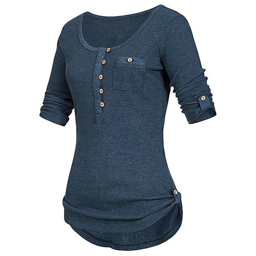 TUDUZ Damen Langarm Knopf Bluse Pullover Tops Tunika Oberteile Shirt mit Taschen