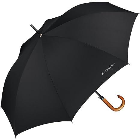 Pierre Cardin - Paraguas para hombre con apertura automática y mango de madera natural