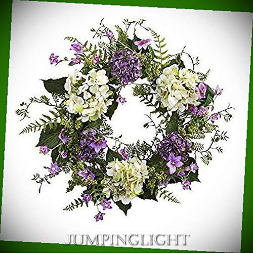24' Silk Calla Lily - JumpingLight 24'' Hydrangea Berry Wreath Artificial Flowers Wedding Party Centerpieces Arrangements Bouquets Supplies