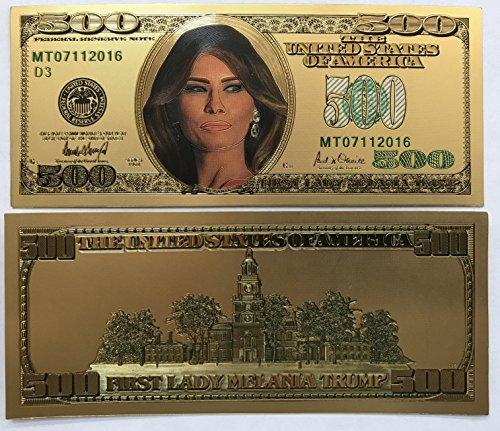 Aizics Mint 500 First Lady Melania Trump 24kt Gold Plated Commemorative Bank Note Collectors Item -