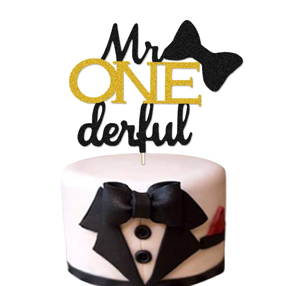 Mr Onederful Cake Topper Glittery Little Man 1st Birthday Cake Decor Bow Tie/Moustache/Top Hat/Mr Wonderful Themed Boy First Birthday Baby Shower Party Cake Decoration Supplies