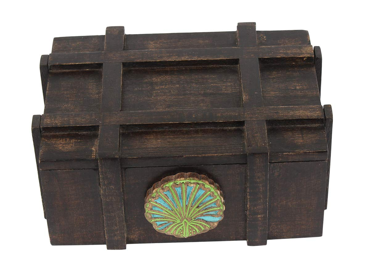 storeindya Thanksgiving Gifts Pinewood Tea Box Caddy with 6 compartments Storage Chest Condiments Organizer with Latch Decorative Trunk Box Handmade Great for Christmas
