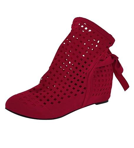 YE Damen Flach Sommer Stiefeletten mit Schnürung Cut Out Sandalen Bequem Schuhe 5IGR8symI