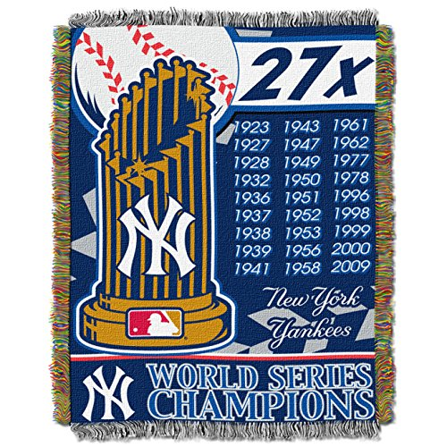 Officially Licensed MLB New York Yankees Commemorative Woven Tapestry Throw Blanket, 48