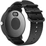 Fintie for Garmin Vivoactive 3, Forerunner 245 Band, 20mm Soft Woven Nylon Strap with Metal Buckle Compatible Vivoactive 3 Music, Vívomove HR, Forerunner 645 Music Smartwatch, Black
