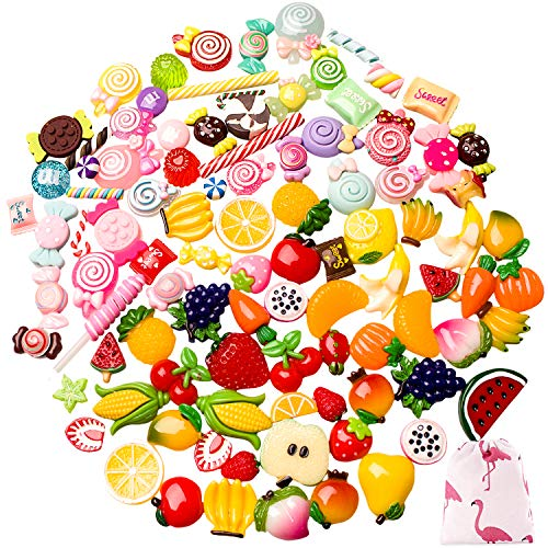 - 100 Pieces Slime Charms Slime Beads, Mixed Resin Fruit and Sweet Candy for Slime DIY Crafts Scrapbook Handmade (100 Pieces Fruit and Candy)