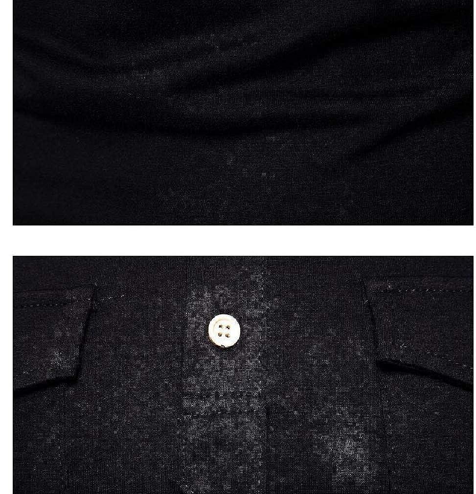 Fseason-Men Casual Shirt Pockets Autumn Turn Down Collar Tee Shirt
