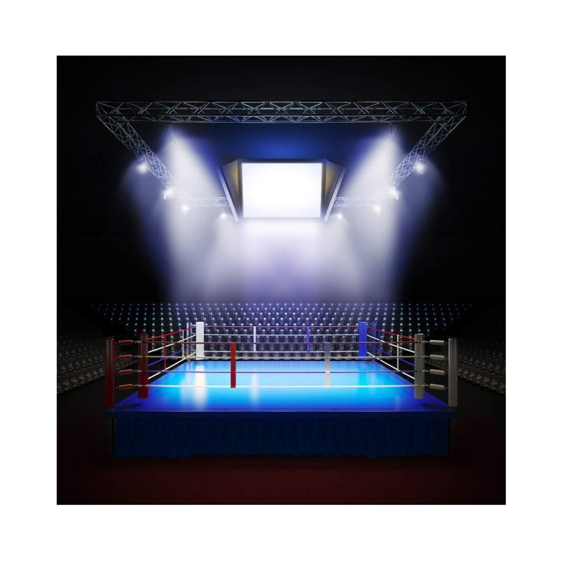 LFEEY 6 x 6フィート 空のプロ用ボクシングリング背景 写真撮影用照明 正方形 サークルプライズリング アリーナ背景 スポーツテーマ フォトブースフォトスタジオ小道具   B07F2MJJ75