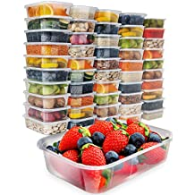 50 Food Storage Containers with Lids - Plastic Food Containers Meal Prep Containers Food Prep Containers for Food - Plastic Containers with Lids Lunch Containers Freezer Containers [17oz]
