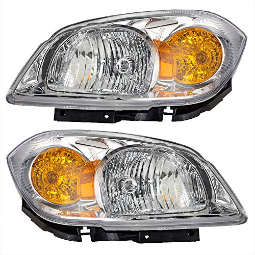 Headlights Headlamps Clear Lenses with Amber Signal Reflectors Driver and Passenger Replacement for Chevrolet 22740621 22740620