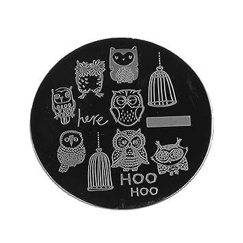 Amazon Com Born Pretty Cute Owls Nail Art Stamp Template Image