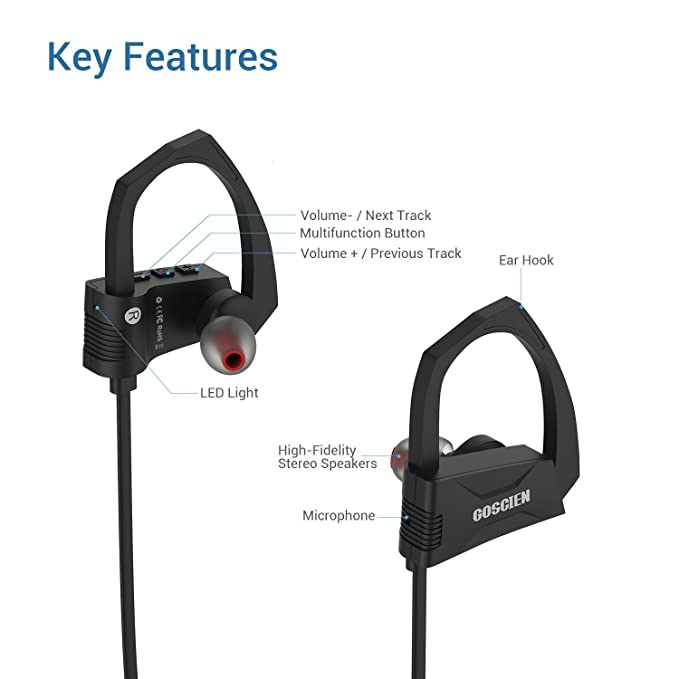 Auriculares Bluetooth, goscien deportes inalámbrica Bluetooth auriculares Running Auriculares de diadema con micrófono integrado para iPhone, Samsung, ...