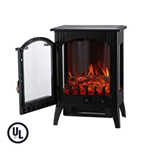 KOOLWOOM Portable Electric Fireplace Stove Heater with Thermostat for Office and Home 3D Flame &Quiet Fan 16.2 W x 10.6 D x 22.8 H, Black
