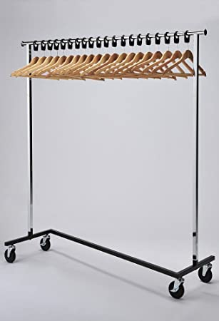 RACK40 Mobile Chrome Coat Stand Office Coat Rack With Wood Hangers Beauteous Commercial Coat Racks