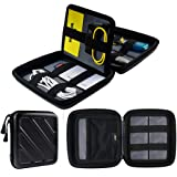Taslar Hard Shockproof Portable Eva Storage Cases Covers For Powerbank, External Hard Drive Carrying Bags With Mesh Pocket - Black(Pack Of 1)
