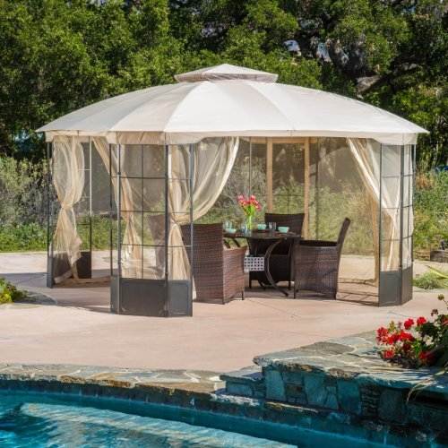Somerset Outdoor Steel Gazebo Canopy w/ Tan Cover (Furniture Outdoor Somerset)