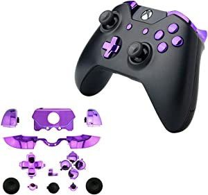 for Xbox One Elite Replacement Full Buttons Bumper Triggers T6 T8 Screwfor Xbox One Controller with 3.5mm Jack (Chrome Purple)