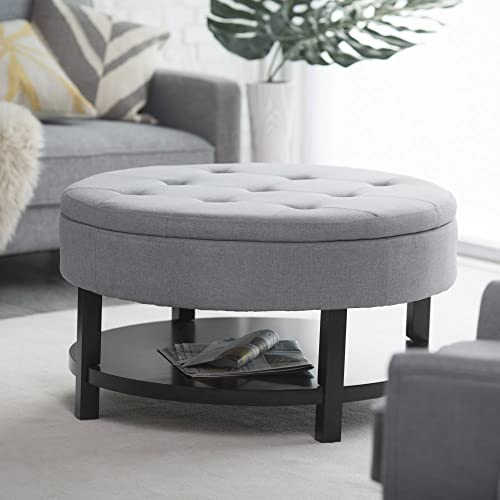Belham Living Coffee Table Storage Ottoman with Shelf –