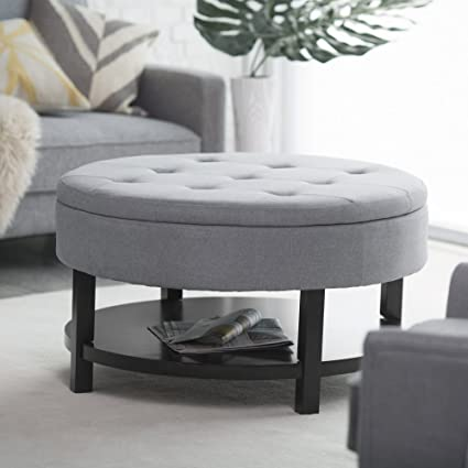 Coffee Table Ottoman.Belham Living Coffee Table Storage Ottoman With Shelf