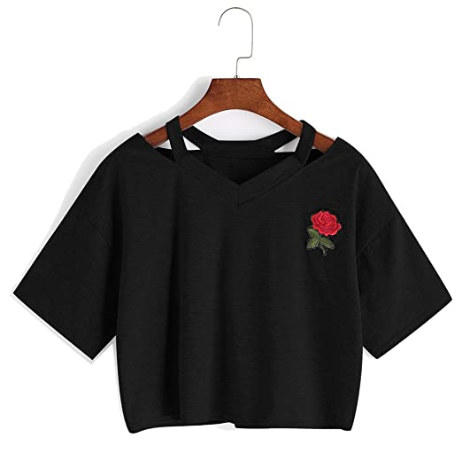 4b6a6a880 Amazon.com  Bestag Embroidery Teen Girls Rose Crop Top Slim Tees Short  Sleeve T-Shirt  Clothing