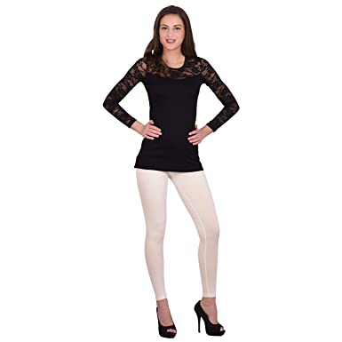 f80ea552e Kavi Fashion Women's Cotton Lycra Leggings,(121-M,Cream,Medium)