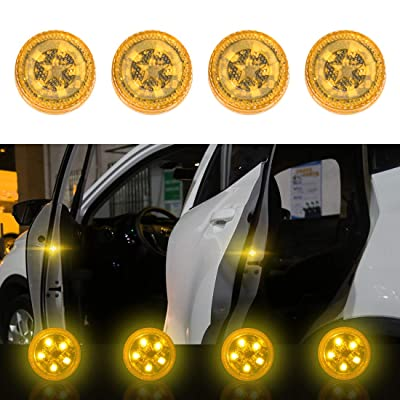 Maodaner 4 PCS Universal Wireless Car Door LED Warning Light, Strobe Flashing Anti Collision Signal LED Safety Lamps (Yellow): Automotive
