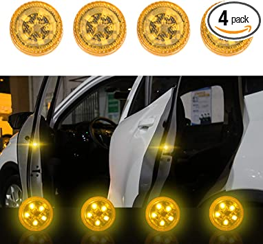 Strobe Flashing Anti Collision Signal LED Safety Lamps Yellow Maodaner 4 PCS Universal Wireless Car Door LED Warning Light
