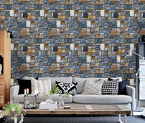 Faux Brick Stone Texture Background 3D Blocks Wall Sticker PVC Removable Wall Mural Large Wallpaper Stonewall Design Home Decoration—17.7