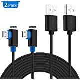 90 Degree Micro USB Cable,SUNGUY [2 Pack] 10ft/3m Right Angle Reversible Micro USB Cable for Samsung Galaxy S7 S6 edge,LG,Motorola,Nexus,Nokia,PS4,Xbox One Controller and More - Black