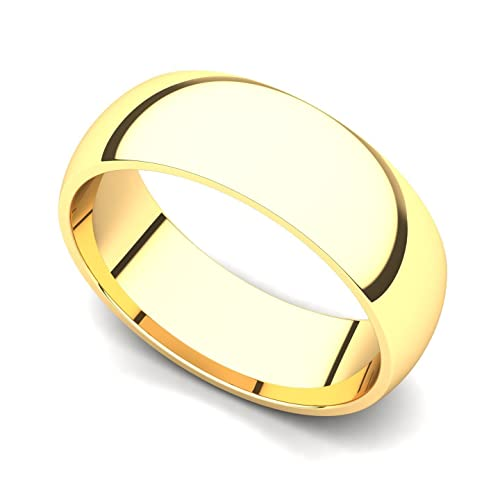 18k Yellow Gold 6mm Classic Plain Comfort Fit Wedding Band Ring