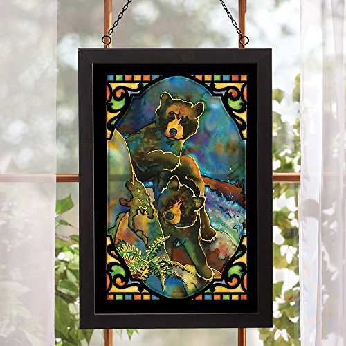 Bear Cubs Stained Glass Wall Art - stained glass wall decor