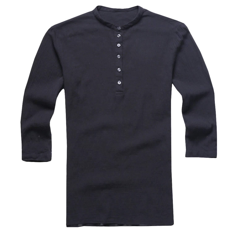 EspTmall Men Summer Shirt Fashionable Mens Baggy Cotton Linen Button Retro Comfortable V Neck Tops Clothing Black XXL United States
