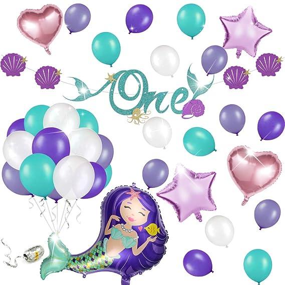 Phogary Decoración de la Fiesta de Sirena 57PCS para el Primer cumpleaños de una niña: una Pancarta de cumpleaños, 55 Globos con 1 Rollo de Cadena ...