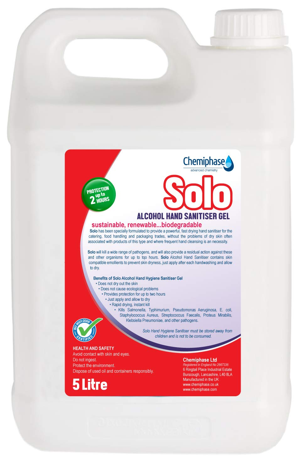 Solo Alcohol Hand Sanitiser Gel 5 Litre Refill Amazon Co Uk