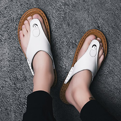 OME&QIUMEI Verano Masculino Calzado De Playa Sandalias Zapatillas Zapatillas Antideslizante 39 F Blanco 39|F blanco