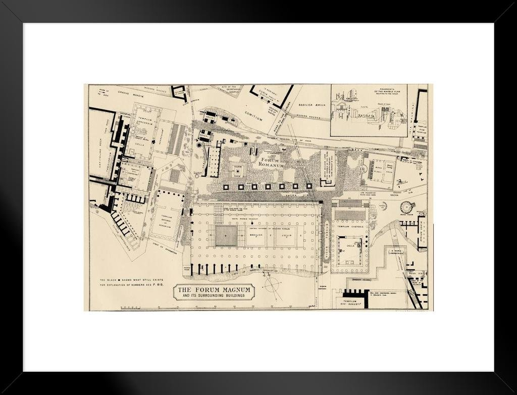 Plan of The Roman Forum Forum Magnum Rome 1883 Historical Illustration Art Print Mural Giant Poster 54x36 inch