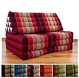 livasia Three Fold XXL Thai Cushion, 72x32x3 inches (LxWxH), 100% Natural Kapok Filling, Foldable Thai Mat with Triangle Cushion, Headrest, Thai Pillow