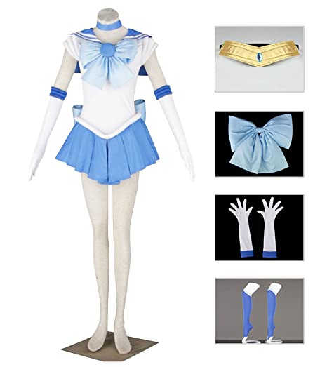 Dazcos Sailor Moon Mercury Mizuno Ami Battle Cosplay Costume Dress [Women / Girls ] (Medium)