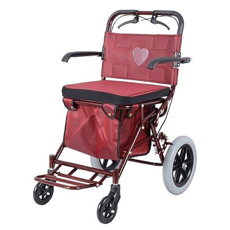 Carros de la Compra Plegables Andador Carro Plegable Acolchado Asiento Caminando Canasta de Compras (Tamaño