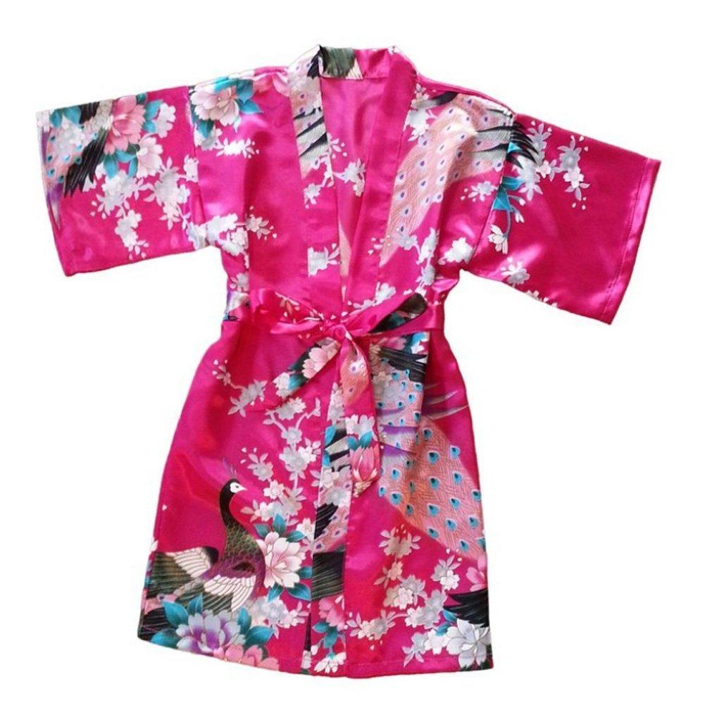Yidarton las Rose niñas pavo real satén Kimono Robe 19323 Albornoz ...