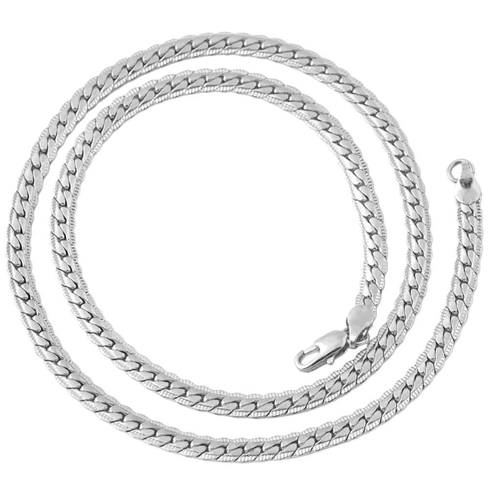 FOReverweihuajz 51 cm Alloy Unisex Flat Texture Chain Necklace Party Night Club Jewelry Gift - Golden/Silver Color