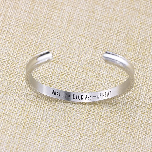 Yiyang Motivational Cuff Bracelets for Women Wake Up Kick Ass Repeat Stainless Steel Feminist Jewelry Gift for Her (Inner Graved) by Yiyang (Image #3)
