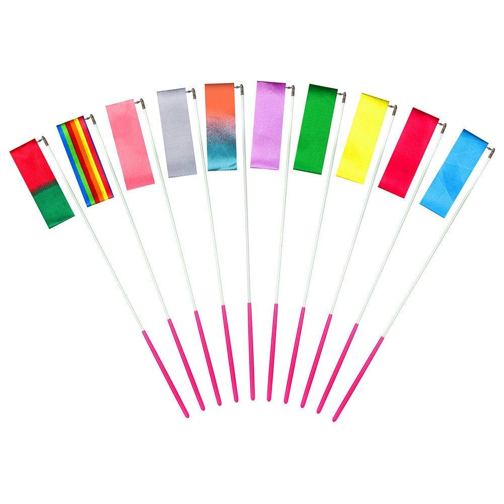 MUAI 10pezzi 4meter arcobaleno danza nastro ginnastica ritmica nastri, ginnastica Ribbon Dance streamer con Twirling Baton stick nastro di danza per bambini, giocattoli, Starry Sky Colors