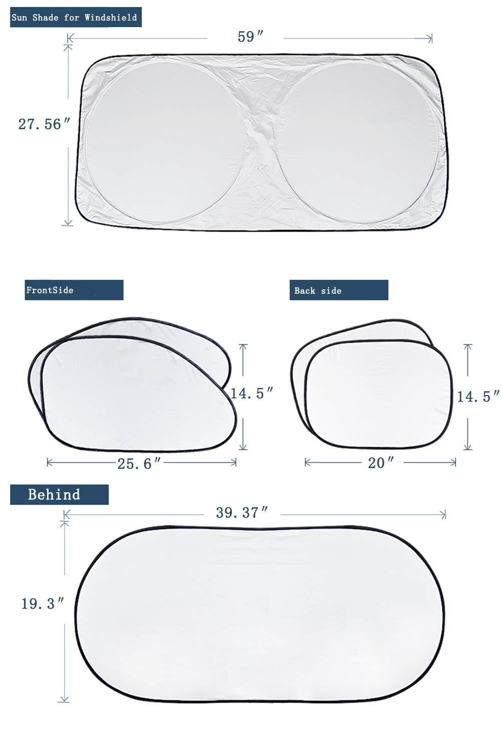 Windshield Sun Shade/Made of 210T Silver Coated Cylon/Effective Insulation/Fits Windshields of Various Sizes (Standard 59 x 31 inches) (6 Sets) by g-oo-d (Image #4)